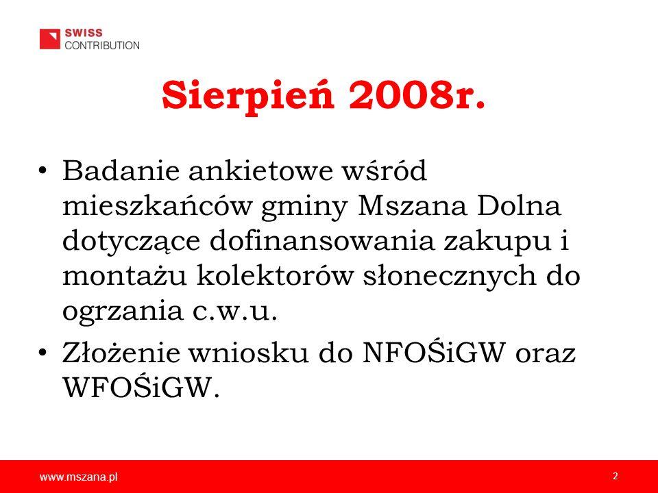 www.mszana.pl 2 Sierpień 2008r. Badanie ankietowe wśród mieszkańców gminy Mszana Dolna dotyczące dofinansowania zakupu i montażu kolektorów słonecznyc