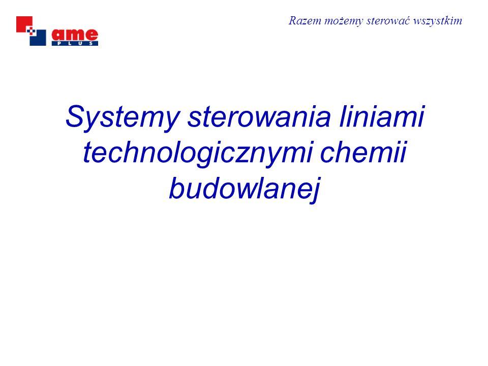Linie technologiczne chemii budowlanej Dostawa, oprogramowanie, uruchomienie systemu dla ALPOL GIPS MT1, Wykonanie modernizacji baz danych CERSANIT Krasnystaw, Dostawa, oprogramowanie, uruchomienie systemu dla KREISEL Będzin, Wykonanie automatycznego sterowania i wizualizacji linii KREISEL Ujazd, Wykonanie sterowania i wizualizacji (kostka betonowa) ARWI Szydłowiec, System sterowania zakładem chemii budowlanej w firmie CAPAROL Bełchatów, System sterowania w zakładzie chemii budowlanej w firmie QUICK-MIX Rawa, Oprogramowanie i wizualizacja w AGRECOL Wieruszów, Modernizacja ALMIX Almata (Kazachstan), Wykonanie sterowania w firmie STIMEKSA (Litwa), Wizualizacja i oprogramowanie LIS (Ukraina), Wykonanie systemu sterowania dla linii produkcyjnej Bachczysaraj (Ukraina), Wizualizacja i oprogramowanie SNIEŻKA (Ukraina).