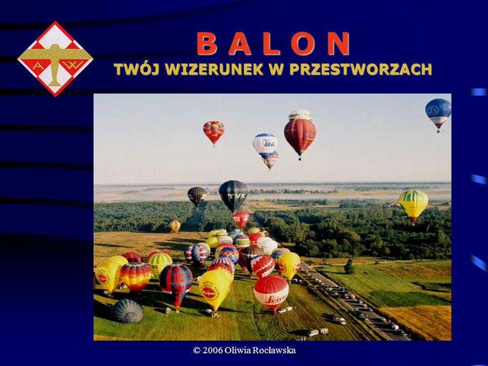 © 2006 Oliwia Rocławska Koszty zakupu Opcja I Specjalnie zaprojektowana powłoka z reklamą firmy Kosz, butle, palniki – wypożycza Aeroklub Koszt: 50–70 tys.