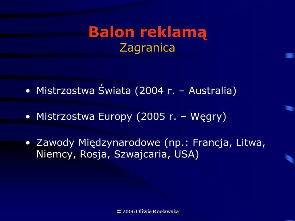 © 2006 Oliwia Rocławska Balon reklamą Zagranica Mistrzostwa Świata (2004 r. – Australia) Mistrzostwa Europy (2005 r. – Węgry) Zawody Międzynarodowe (n