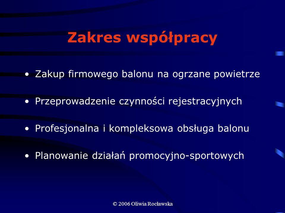 © 2006 Oliwia Rocławska Zakres współpracy Zakup firmowego balonu na ogrzane powietrze Przeprowadzenie czynności rejestracyjnych Profesjonalna i komple