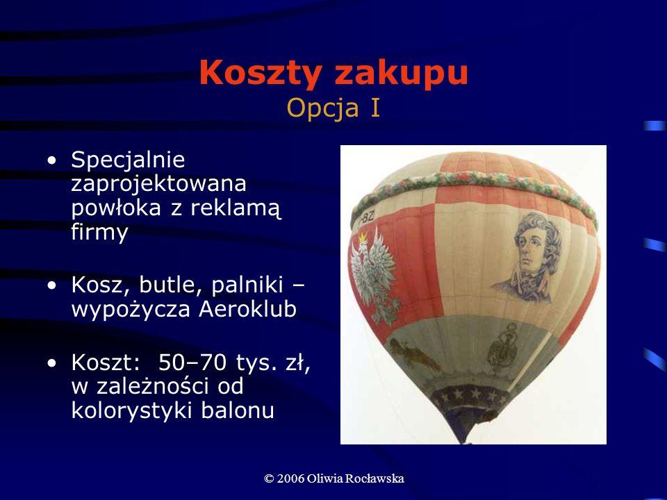 © 2006 Oliwia Rocławska Koszty zakupu Opcja I Specjalnie zaprojektowana powłoka z reklamą firmy Kosz, butle, palniki – wypożycza Aeroklub Koszt: 50–70