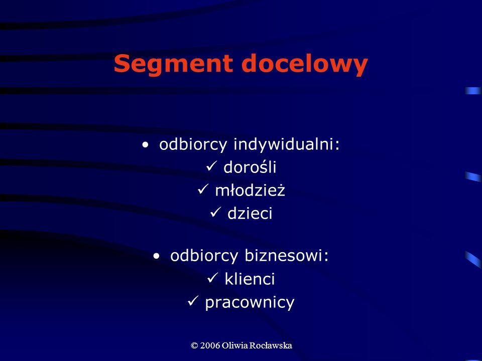 © 2006 Oliwia Rocławska Segment docelowy odbiorcy indywidualni: dorośli młodzież dzieci odbiorcy biznesowi: klienci pracownicy