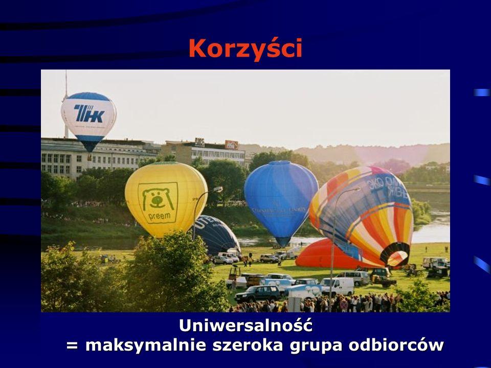 © 2006 Oliwia Rocławska Korzyści Uniwersalność = maksymalnie szeroka grupa odbiorców