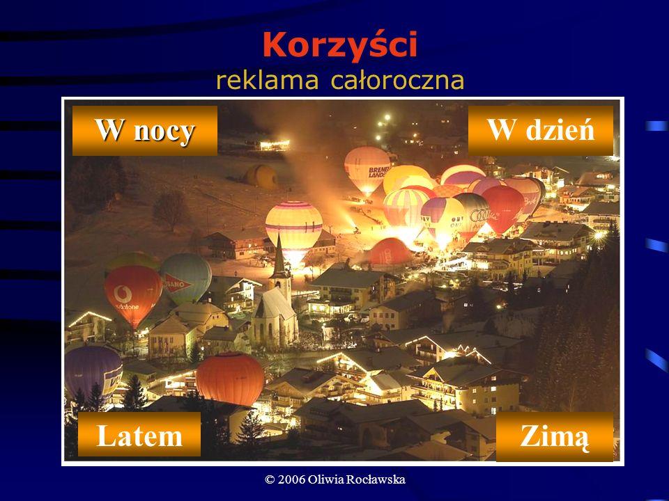 © 2006 Oliwia Rocławska Formy współpracy przekazanie w użytkowanie Sponsor zakupuje balon i przekazuje go w użytkowanie sponsorowanemu Sponsorowany, w ramach wartości powłoki, świadczy usługę przez określony czas