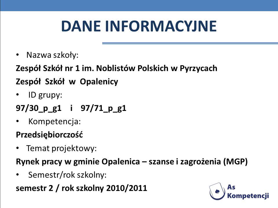 Struktura zatrudnienia oraz poszukiwane zawody w poszczególnych zakładach pracy na terenie gminy Opalenica