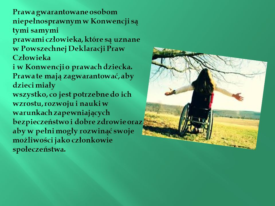 Prawa gwarantowane osobom niepełnosprawnym w Konwencji są tymi samymi prawami człowieka, które są uznane w Powszechnej Deklaracji Praw Człowieka i w Konwencji o prawach dziecka.