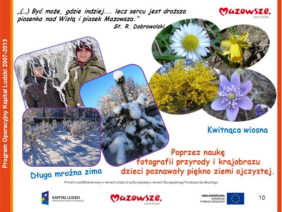 10 Projekt współfinansowany w ramach przez Unię Europejską w ramach Europejskiego Funduszu Społecznego Program Operacyjny Kapitał Ludzki 2007-2013 Kwitnąca wiosna Długa mroźna zima (…) Być może, gdzie indziej...