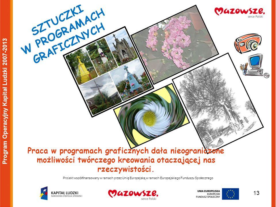 13 Projekt współfinansowany w ramach przez Unię Europejską w ramach Europejskiego Funduszu Społecznego Program Operacyjny Kapitał Ludzki 2007-2013 SZTUCZKI W PROGRAMACH GRAFICZNYCH Praca w programach graficznych dała nieograniczone możliwości twórczego kreowania otaczającej nas rzeczywistości.