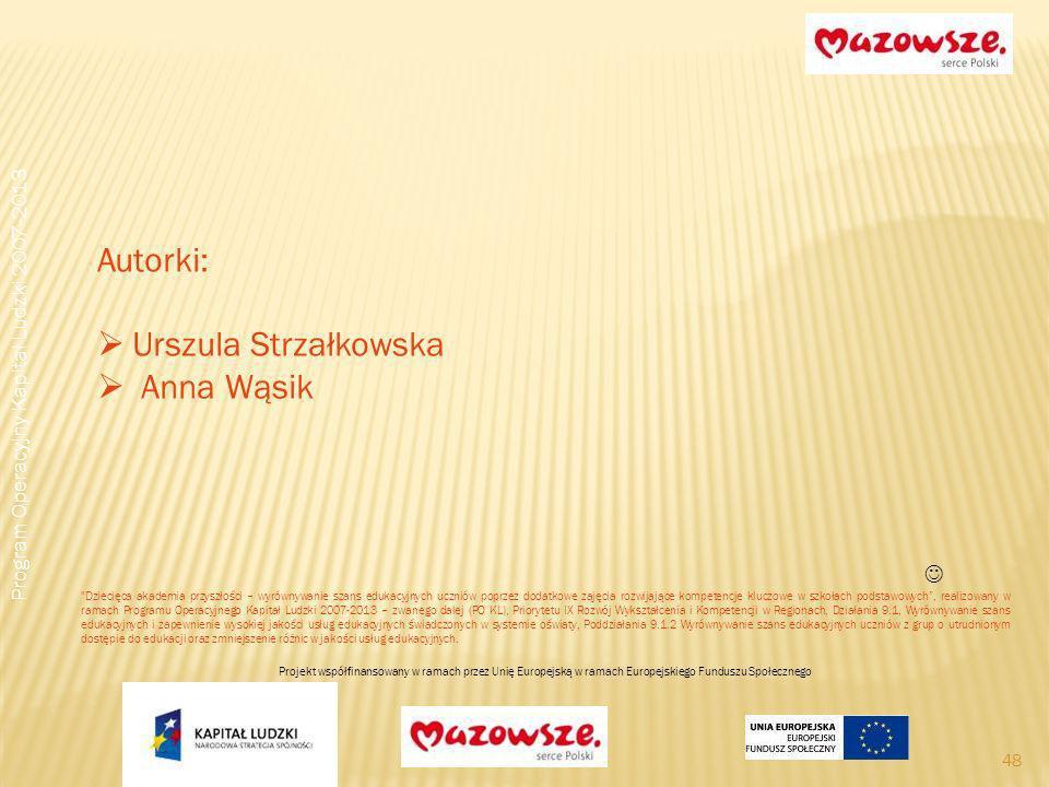 48 Autorki: Urszula Strzałkowska Anna Wąsik Program Operacyjny Kapitał Ludzki 2007-2013 Dziecięca akademia przyszłości – wyrównywanie szans edukacyjnych uczniów poprzez dodatkowe zajęcia rozwijające kompetencje kluczowe w szkołach podstawowych, realizowany w ramach Programu Operacyjnego Kapitał Ludzki 2007-2013 – zwanego dalej (PO KL), Priorytetu IX Rozwój Wykształcenia i Kompetencji w Regionach, Działania 9.1, Wyrównywanie szans edukacyjnych i zapewnienie wysokiej jakości usług edukacyjnych świadczonych w systemie oświaty, Poddziałania 9.1.2 Wyrównywanie szans edukacyjnych uczniów z grup o utrudnionym dostępie do edukacji oraz zmniejszenie różnic w jakości usług edukacyjnych.