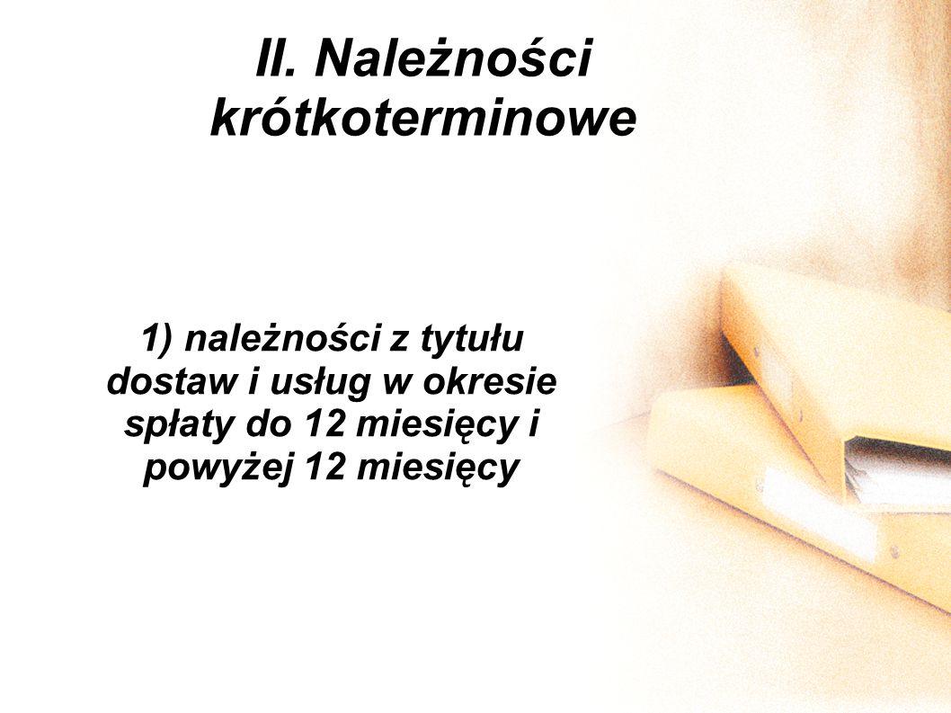 II. Należności krótkoterminowe 1) należności z tytułu dostaw i usług w okresie spłaty do 12 miesięcy i powyżej 12 miesięcy