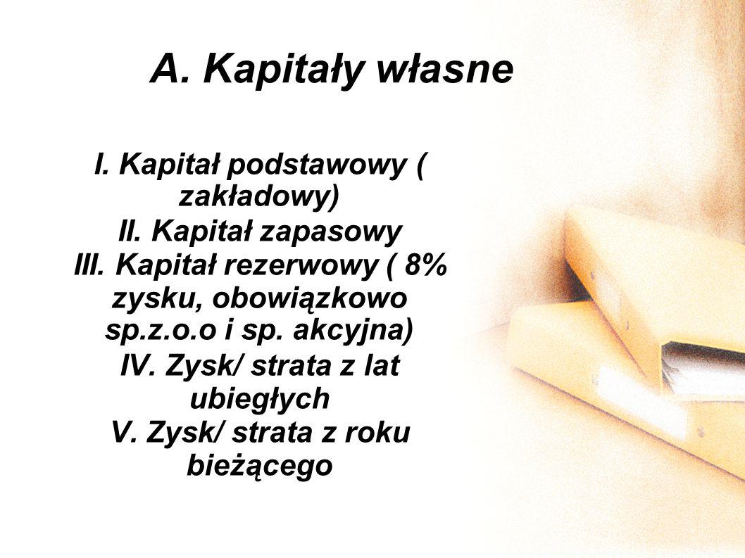 A. Kapitały własne I. Kapitał podstawowy ( zakładowy) II. Kapitał zapasowy III. Kapitał rezerwowy ( 8% zysku, obowiązkowo sp.z.o.o i sp. akcyjna) IV.
