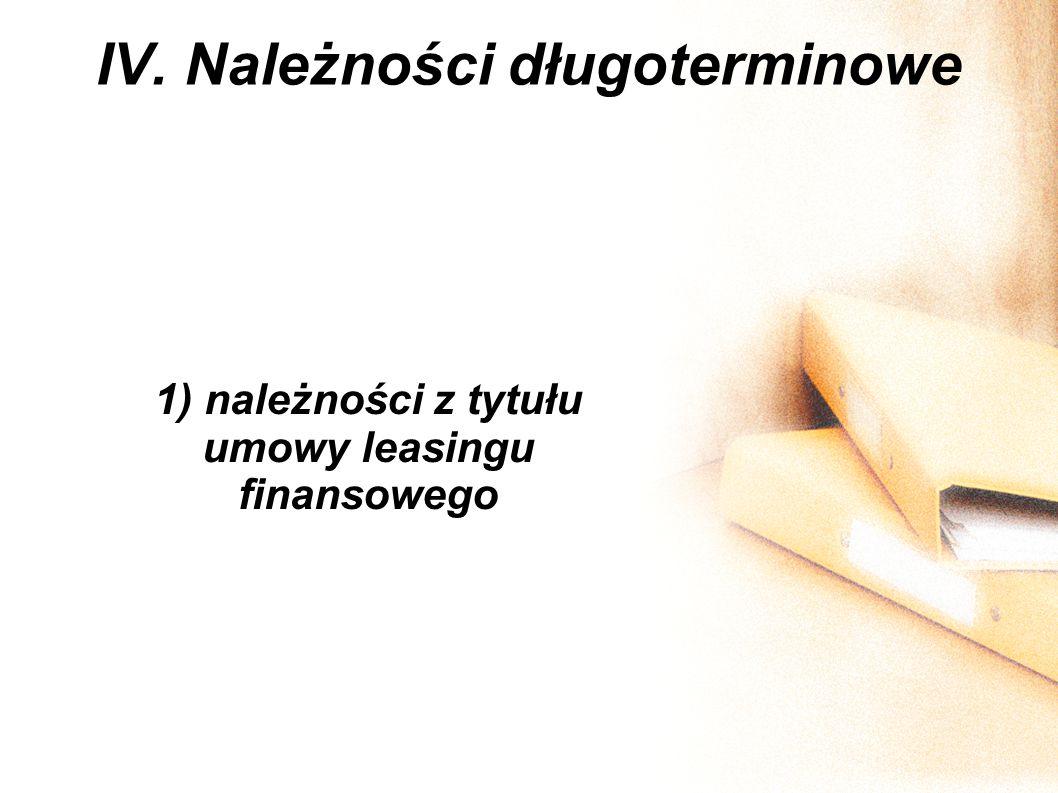 IV. Należności długoterminowe 1) należności z tytułu umowy leasingu finansowego