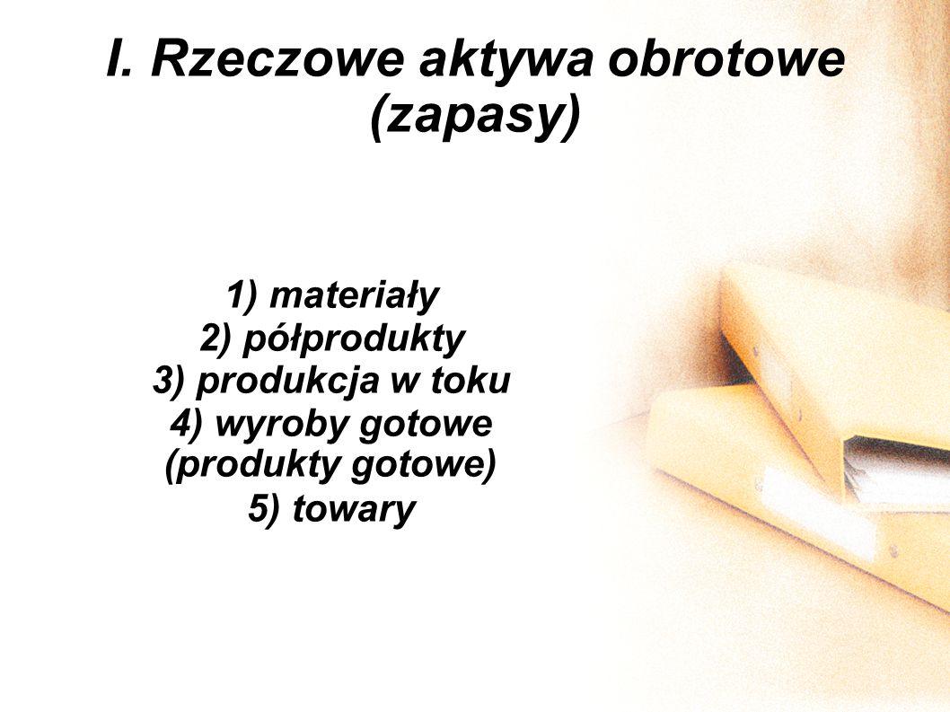 I. Rzeczowe aktywa obrotowe (zapasy) 1) materiały 2) półprodukty 3) produkcja w toku 4) wyroby gotowe (produkty gotowe) 5) towary