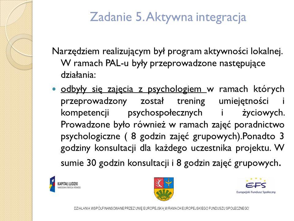 Zadanie 5. Aktywna integracja Narzędziem realizującym był program aktywności lokalnej.