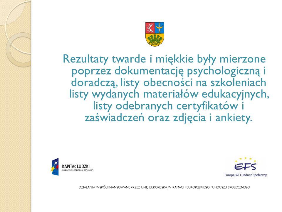 Rezultaty twarde i miękkie były mierzone poprzez dokumentację psychologiczną i doradczą, listy obecności na szkoleniach listy wydanych materiałów edukacyjnych, listy odebranych certyfikatów i zaświadczeń oraz zdjęcia i ankiety.
