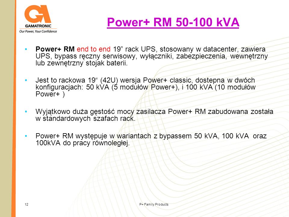 P+ Family Products12 Power+ RM 50-100 kVA Power+ RM end to end 19 rack UPS, stosowany w datacenter, zawiera UPS, bypass ręczny serwisowy, wyłączniki,