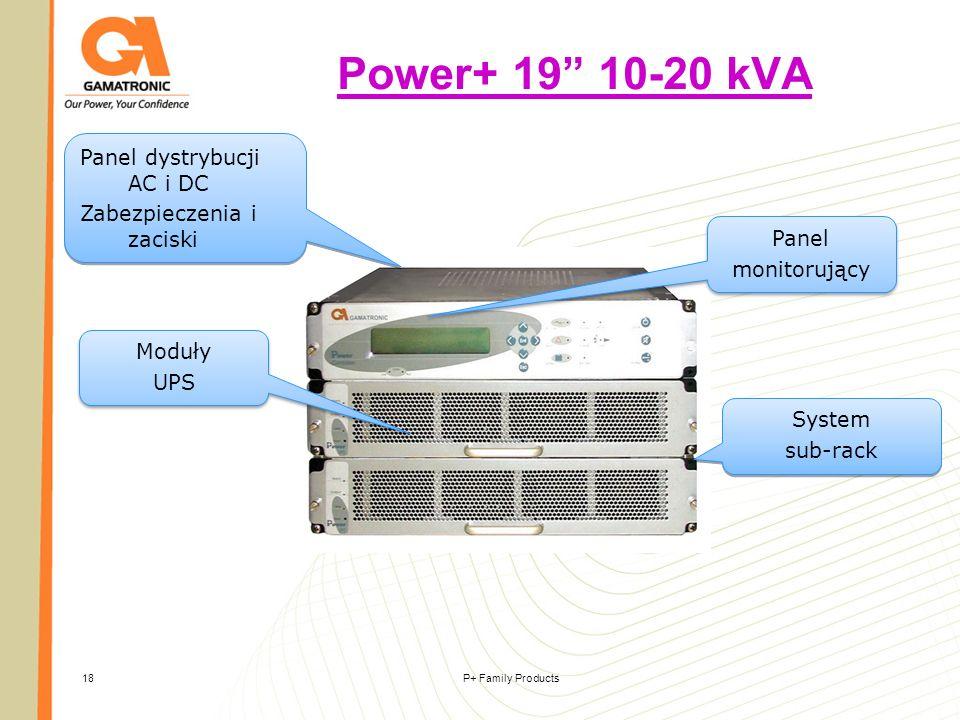 P+ Family Products18 Power+ 19 10-20 kVA Moduły UPS Moduły UPS Panel monitorujący Panel monitorujący System sub-rack System sub-rack Panel dystrybucji
