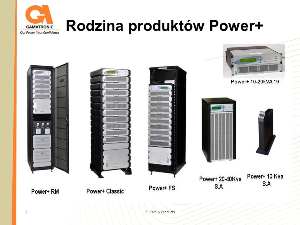 P+ Family Products23 Power+ 20-40 kVA S.A Power+ SA (Stand Alone) 20/30/40 kVA UPS System Wolnostojący UPS ON-LINE double- conversion.