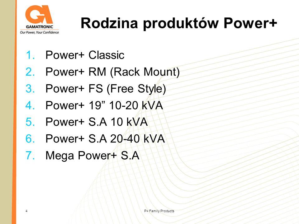 P+ Family Products4 Rodzina produktów Power+ 1.Power+ Classic 2.Power+ RM (Rack Mount) 3.Power+ FS (Free Style) 4.Power+ 19 10-20 kVA 5.Power+ S.A 10