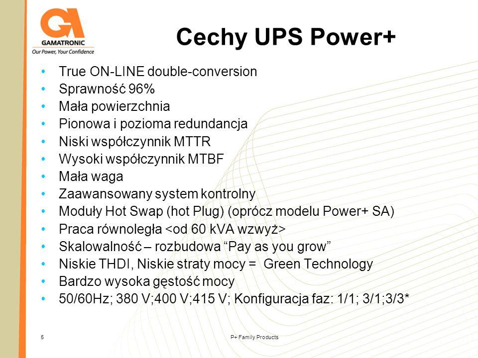 P+ Family Products5 Cechy UPS Power+ True ON-LINE double-conversion Sprawność 96% Mała powierzchnia Pionowa i pozioma redundancja Niski współczynnik M