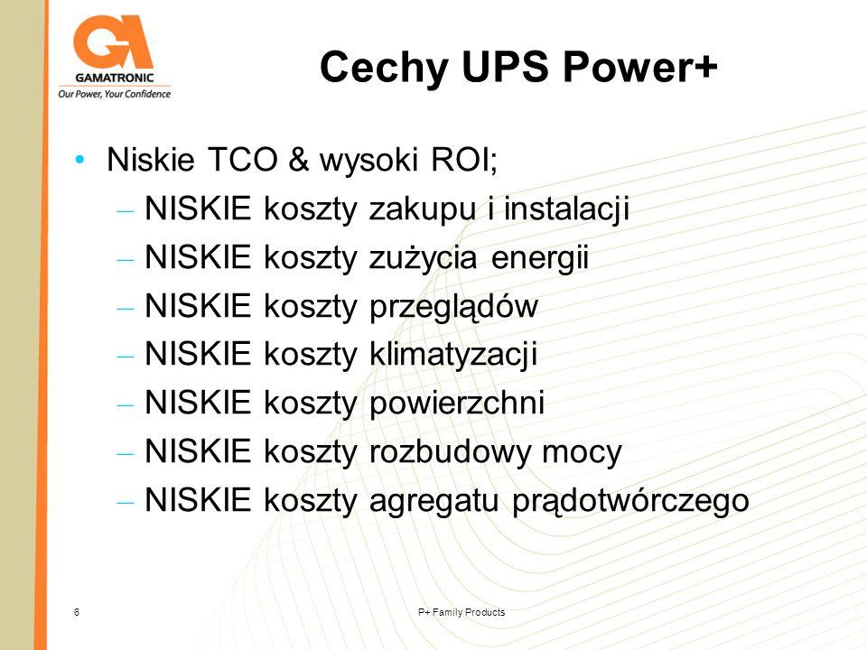 P+ Family Products7 Cechy UPS Power+ True Rightsizing Bardzo wysoka gęstość mocy Uniwersalna konfiguracja UPS; napięcie- częstotliwość – ilość faz ustawiana na obiekcie Wygodna eksploatacja Wysoka dostępność zasilania Zintegrowany system pracy równoleglej Rozproszony By-pass statyczny przy pracy równoległej Baterie w trybie True Online Double Conversion VFI Topology Rzeczywista Green Power i wysoka sprawność Power with environmental integrity Panel monitorujący Power+; zdalne sterowanie UPS, automatyczne zamykanie serwerów, powiadomienia, zarządzanie przez SNMP, interface do NMS software