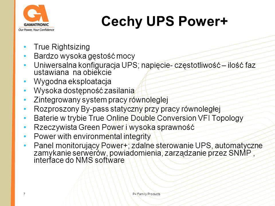 P+ Family Products18 Power+ 19 10-20 kVA Moduły UPS Moduły UPS Panel monitorujący Panel monitorujący System sub-rack System sub-rack Panel dystrybucji AC i DC Zabezpieczenia i zaciski Panel dystrybucji AC i DC Zabezpieczenia i zaciski