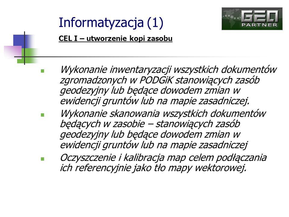 Wykonanie inwentaryzacji wszystkich dokumentów zgromadzonych w PODGiK stanowiących zasób geodezyjny lub będące dowodem zmian w ewidencji gruntów lub n