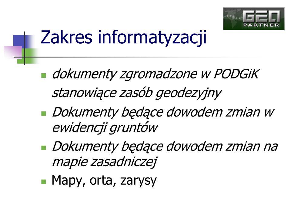 - dostęp do przeglądarki internetowej oraz wyszukiwanie i wyświetlanie dokumentów składowych w repozytorium na podstawie danych opisowych, danych z metryk, historii dostępu do dokumentów dla użytkowników zarejestrowanych w systemie a docelowo dla użytkowników podłączonych przez sieć internet, - kojarzenie i wiązanie dokumentów z obiektami na mapie numerycznej, - wyszukiwanie w repozytorium i wyświetlanie dokumentów z poziomu mapy, na podstawie atrybutów z metryk dokumentów oraz zakresów graficznych i wskazania na mapie obiektów jakich dotyczą, - udostępnianie dokumentów dla systemów zewnętrznych przez usługi sieciowe zgodnie z technologią SOA i WebService na potrzeby integracji z serwisami internetowymi tworzonymi na szczeblu regionalnym(www.woj.pomorskie.pl/geodezja) i krajowymi ( www.geoportal.gov.pl).