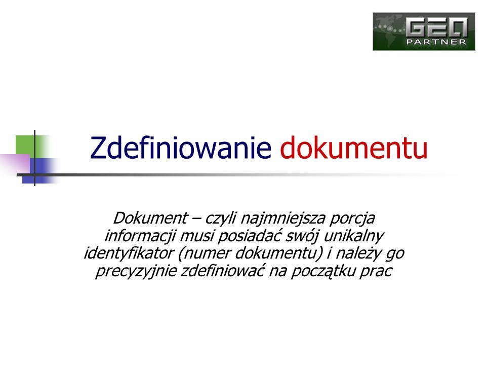 Zdefiniowanie dokumentu Dokument – czyli najmniejsza porcja informacji musi posiadać swój unikalny identyfikator (numer dokumentu) i należy go precyzy