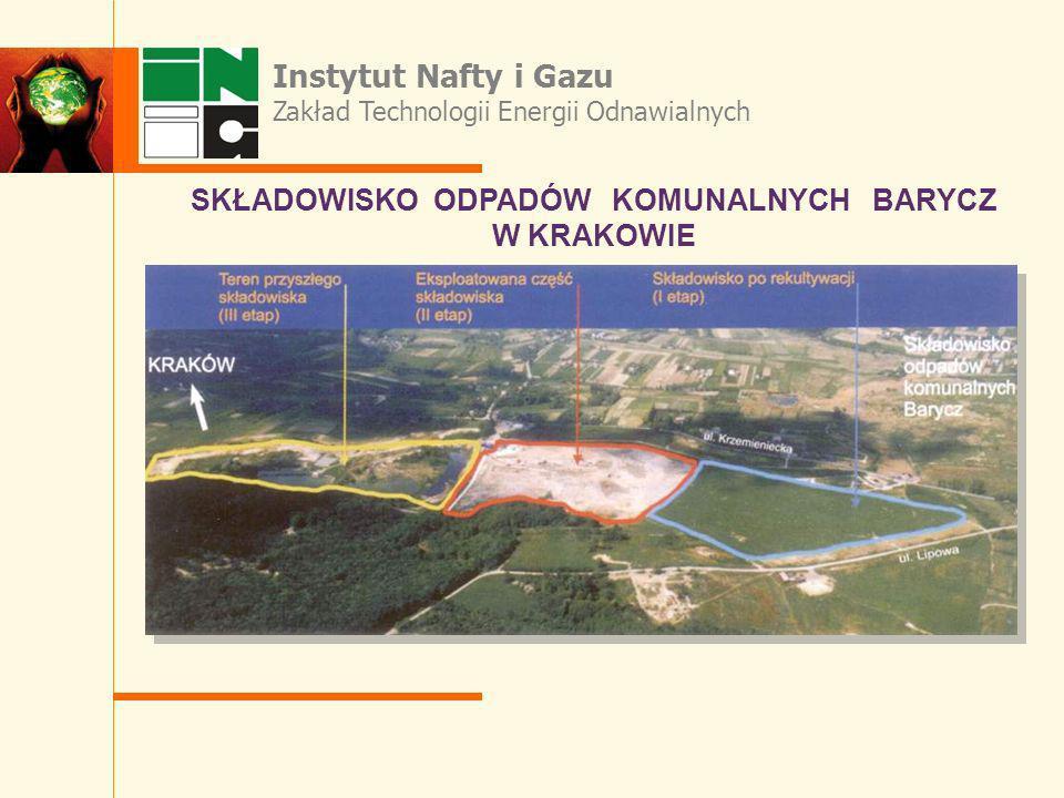 Instytut Nafty i Gazu Zakład Technologii Energii Odnawialnych SKŁADOWISKO ODPADÓW KOMUNALNYCH BARYCZ W KRAKOWIE
