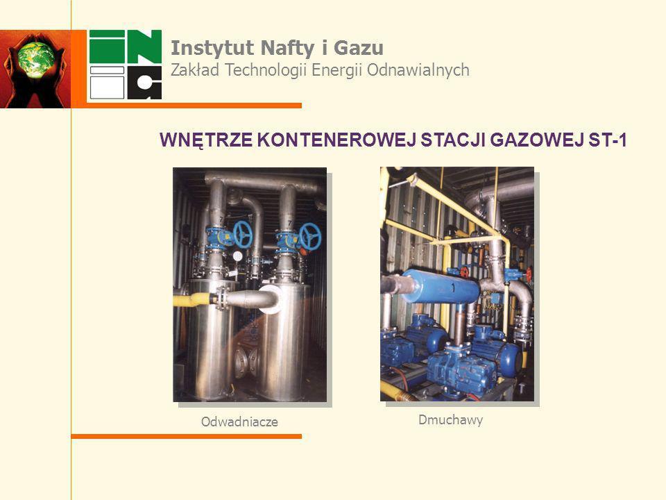 WNĘTRZE KONTENEROWEJ STACJI GAZOWEJ ST-1 Odwadniacze Dmuchawy Instytut Nafty i Gazu Zakład Technologii Energii Odnawialnych