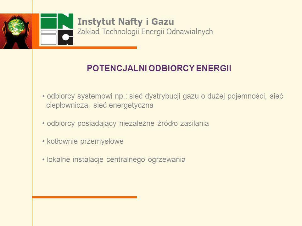 odbiorcy systemowi np.: sieć dystrybucji gazu o dużej pojemności, sieć ciepłownicza, sieć energetyczna odbiorcy posiadający niezależne źródło zasilani