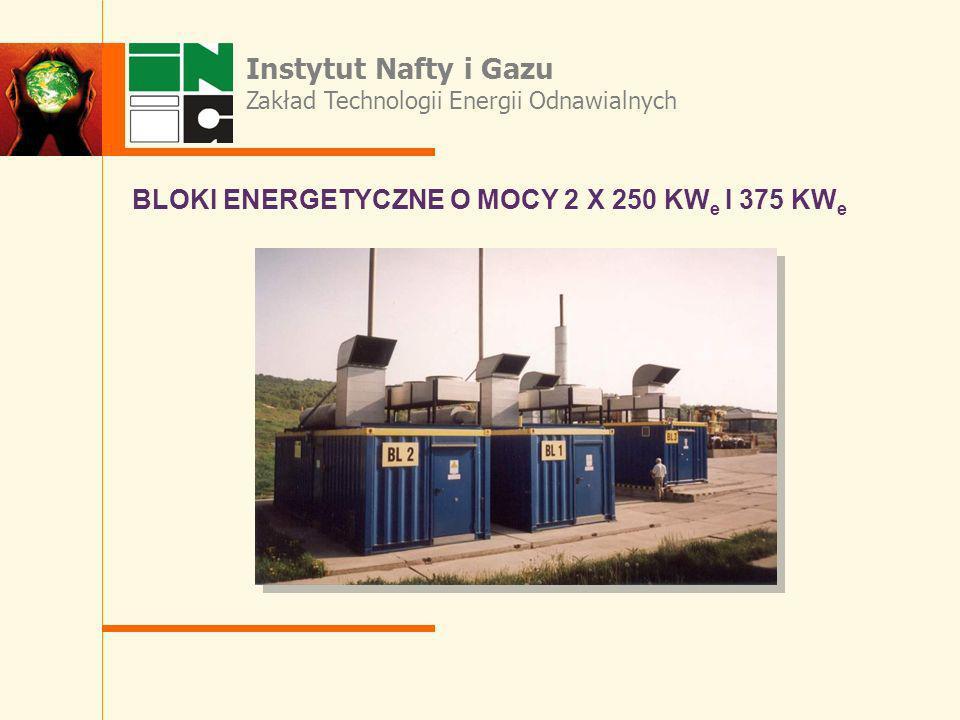 Instytut Nafty i Gazu Zakład Technologii Energii Odnawialnych BLOKI ENERGETYCZNE O MOCY 2 X 250 KW e I 375 KW e