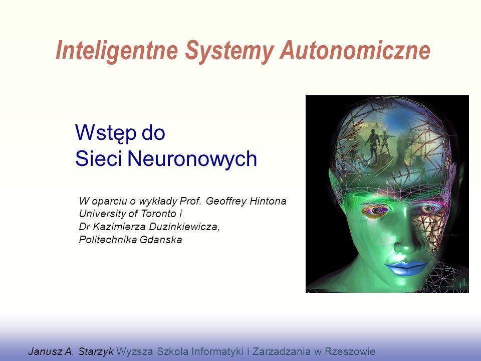 Każdy neuron otrzymuje sygnały od innych neuronów -Neurony porozumiewają się poprzez impulsy -Ważna jest synchronizacja impulsów Wpływ każdego sygnału wejściowego neuronu jest kontrolowany przez wagi synaptyczne –Wagi mogą być dodatnie lub ujemne Wagi synaptyczne adaptują się i cała sieć uczy się użytecznego działania –Rozpoznawania obrazów, rozumienia języka, planowania, kontroli ciała Mozg ma około 10 10 -10 11 neuronów z 10 3 -10 4 wag wejścia każdy –Olbrzymia ilość wag może szybko wpłynąć na wynik obliczeń.