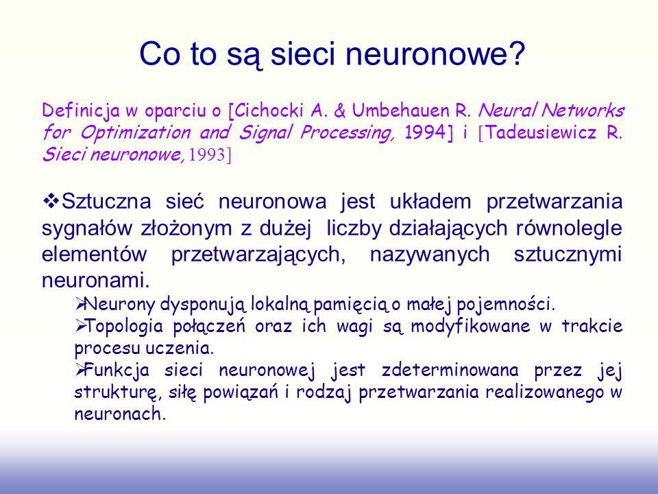 Definicja w oparciu o [Cichocki A. & Umbehauen R. Neural Networks for Optimization and Signal Processing, 1994] i [ Tadeusiewicz R. Sieci neuronowe, 1