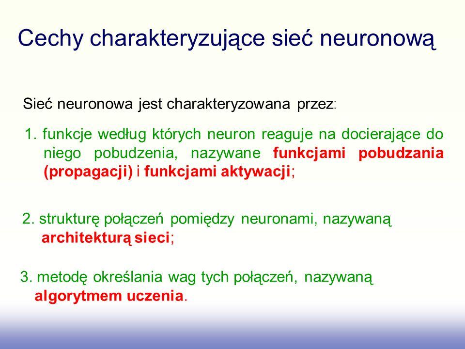 Cechy charakteryzujące sieć neuronową Sieć neuronowa jest charakteryzowana przez : 1. funkcje według których neuron reaguje na docierające do niego po