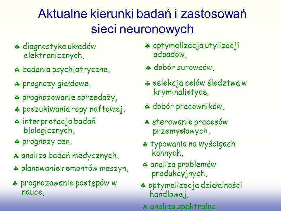 Aktualne kierunki badań i zastosowań sieci neuronowych diagnostyka układów elektronicznych, badania psychiatryczne, prognozy giełdowe, prognozowanie s