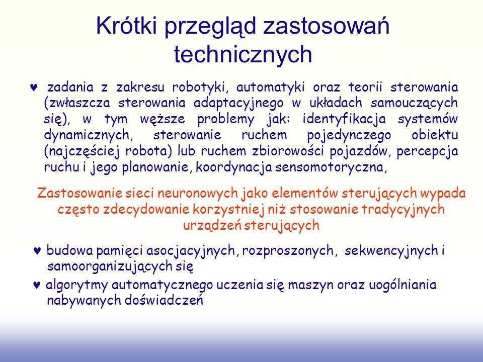 Krótki przegląd zastosowań technicznych zadania z zakresu robotyki, automatyki oraz teorii sterowania (zwłaszcza sterowania adaptacyjnego w układach s