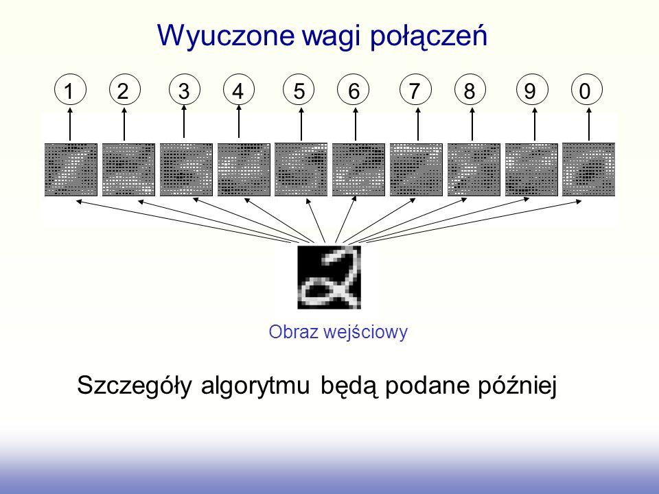 Wyuczone wagi połączeń 1 2 3 4 5 6 7 8 9 0 Szczegóły algorytmu będą podane później Obraz wejściowy
