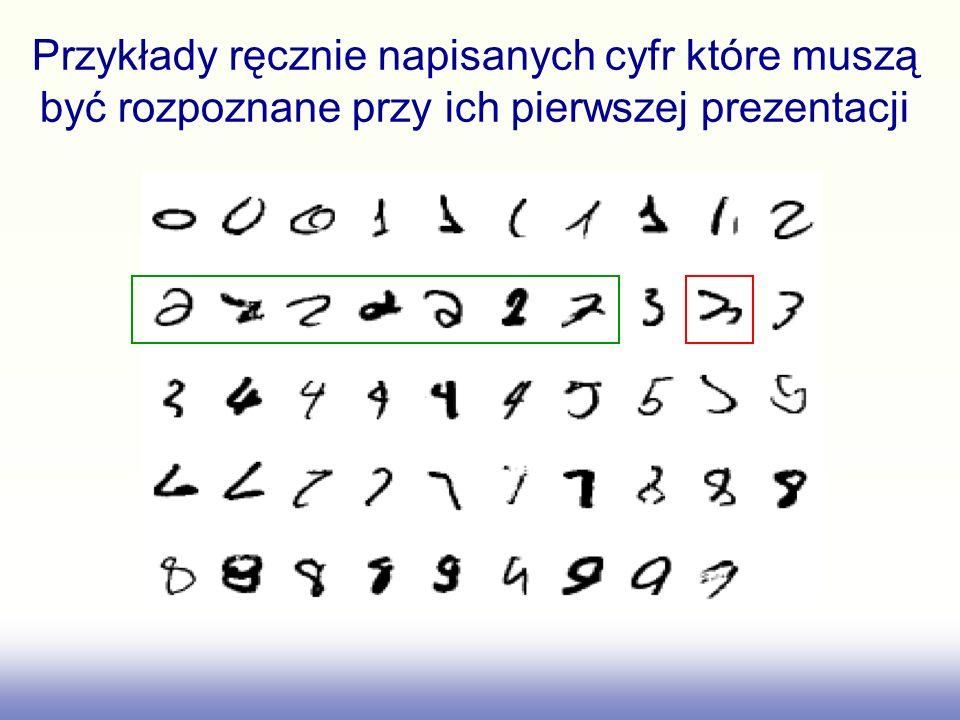 Przykłady ręcznie napisanych cyfr które muszą być rozpoznane przy ich pierwszej prezentacji