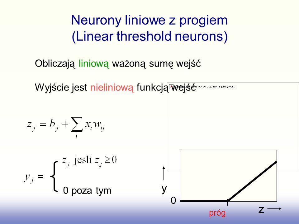 Neurony liniowe z progiem (Linear threshold neurons) 0 poza tym y z 0 próg Obliczają liniową ważoną sumę wejść Wyjście jest nieliniową funkcją wejść