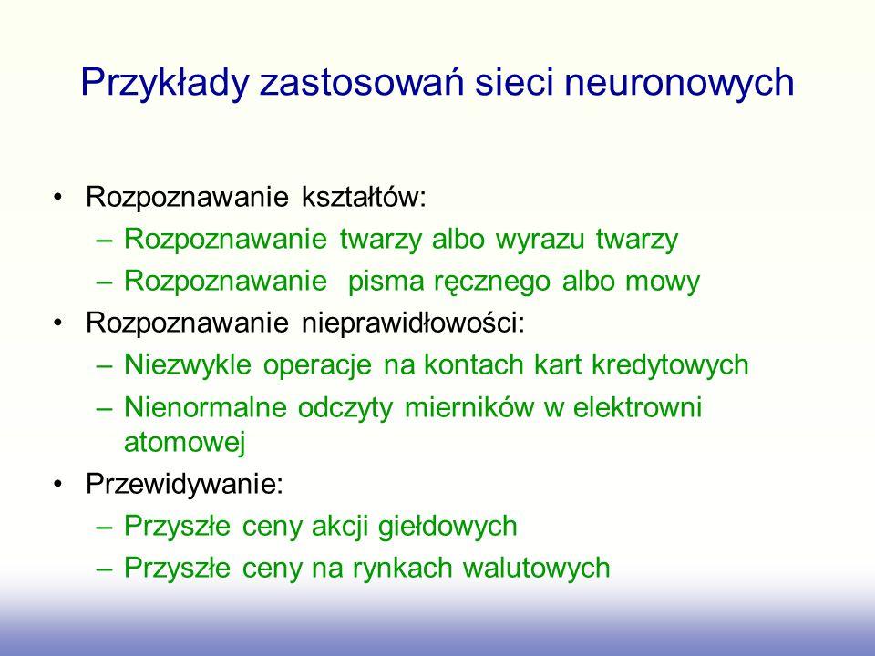 Warstwa Neuronów Układ neuronów nie powiązanych ze sobą (wyjścia neuronów nie są połączone z wejściami innych neuronów warstwy) do których docierają sygnały z tych samych źródeł (neurony pracują równolegle) b (l) k g w (l) k1 w (l) k2 w (l) kj w (l) km 1 g g y (l-1) m k- ty neuron sieci y (l -1) 1 y (l -1) 2 y (l -1) j y (l) k