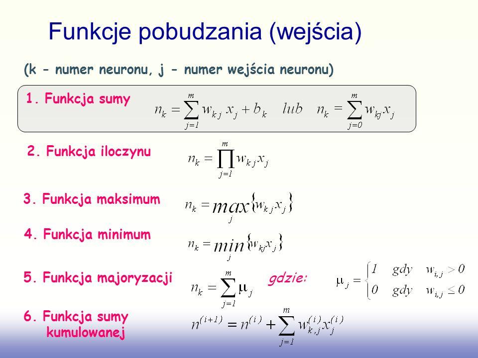 Funkcje pobudzania (wejścia) (k - numer neuronu, j - numer wejścia neuronu) 1. Funkcja sumy 2. Funkcja iloczynu 3. Funkcja maksimum 4. Funkcja minimum