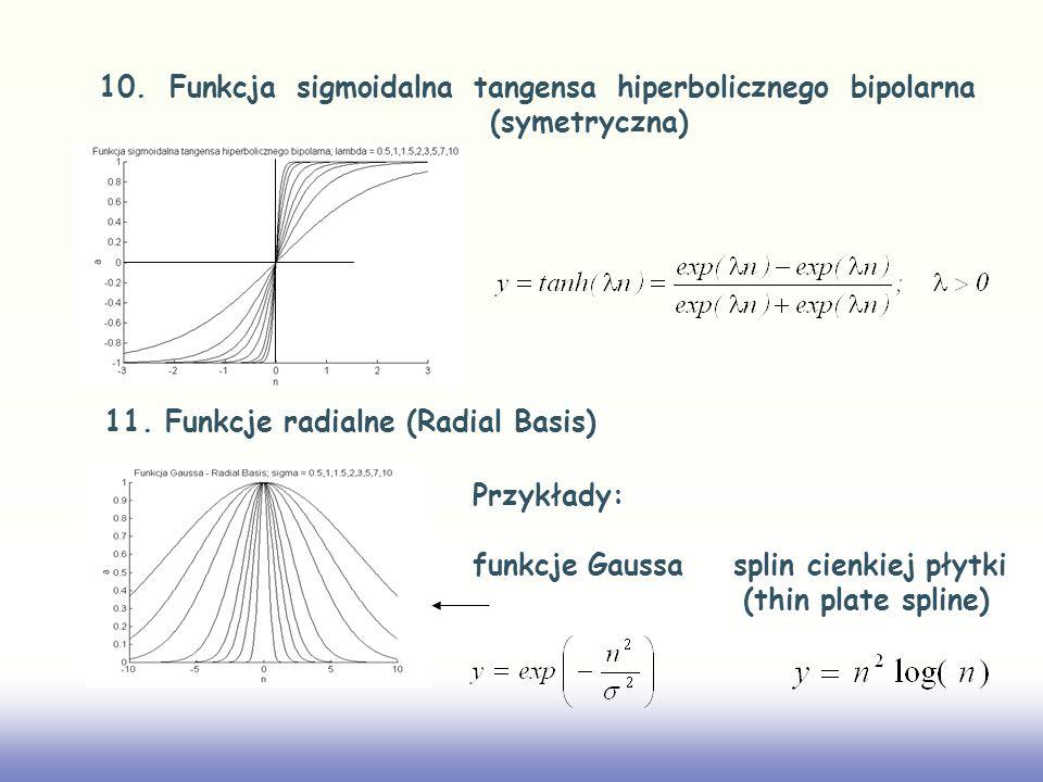 10. Funkcja sigmoidalna tangensa hiperbolicznego bipolarna (symetryczna) 11. Funkcje radialne (Radial Basis) Przykłady: funkcje Gaussa splin cienkiej