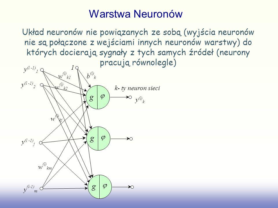 Warstwa Neuronów Układ neuronów nie powiązanych ze sobą (wyjścia neuronów nie są połączone z wejściami innych neuronów warstwy) do których docierają s