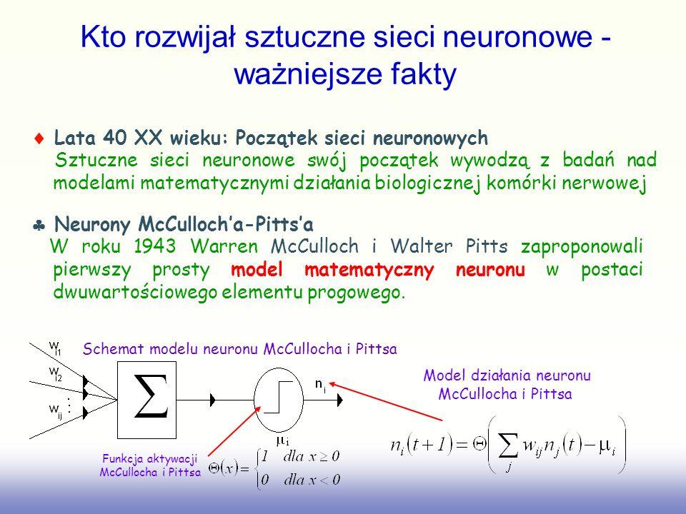 Kto rozwijał sztuczne sieci neuronowe - ważniejsze fakty Lata 40 XX wieku: Początek sieci neuronowych Sztuczne sieci neuronowe swój początek wywodzą z