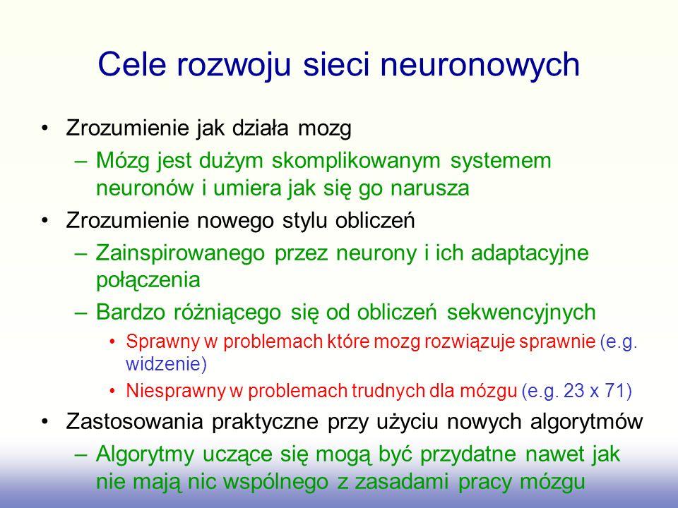 Cele rozwoju sieci neuronowych Zrozumienie jak działa mozg –Mózg jest dużym skomplikowanym systemem neuronów i umiera jak się go narusza Zrozumienie n