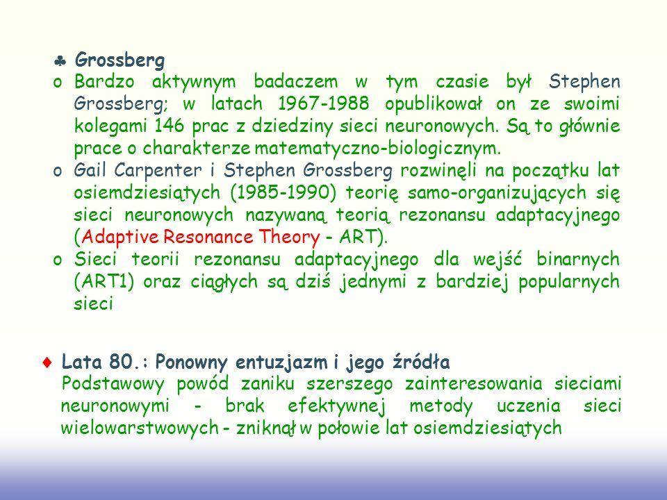 Grossberg oBardzo aktywnym badaczem w tym czasie był Stephen Grossberg; w latach 1967-1988 opublikował on ze swoimi kolegami 146 prac z dziedziny siec