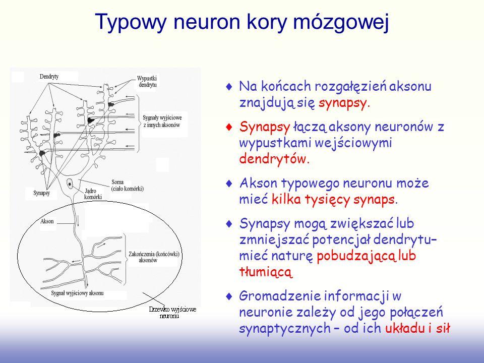 Neurony z unipolarna funkcja progowa (Binary threshold neurons) McCulloch-Pitts (1943): –Oblicz ważoną sumę sygnałów wejścia –Jeśli ta suma przekracza wartość progową to wyślij sygnał wyjściowy o stałej wartości.